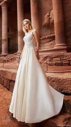 oksana mukha 2018 bridal sleeveless with strap scoop neckline heavily embellished bodice romantic a line wedding dress open v back chapel train (jordania) mv -- Oksana Mukha 2018 Wedding Dresses