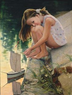 Girl With A Toy Boat by Sayda Afonina (1965, Russian)