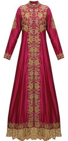Magenta embroidered long jacket with chantilly lace lehenga by J/Jannat. Shop now: http://www.perniaspopupshop.com/designers/j-by-jannat #shopnow #perniaspopupshop #happyshopping