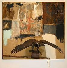 """""""Canyon,"""" a mixed-media collage from 1959 known as a """"combine"""" Sonnabend Collection; All Rights Reserved, Robert Rauschenberg Foundation/Licensed by VAGA, New YorkSonnabend Collection/Rauschenberg Estate - Licensed by VAGA, New York Robert Rauschenberg, Action Painting, Moma, Abstract Expressionism, Abstract Art, James Rosenquist, Neo Dada, Pop Art Movement, Jasper Johns"""