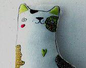Quirky Embroidery Cat, Plush, Art Doll, Folk Art, Cloth Doll, Cloth Cat, Gift