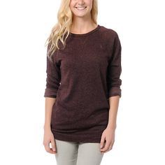 The Obey Echo Mountain sweatshirt is a light-weight slim cut pullover, easily layered over a tank and thin enough to wear under fitted jackets. Made with lightweight french terry material, the Echo Mountain crew neck sweatshirt has a smooth lux feel and ultra soft interior. Features a subtle Obey logo embroidery at the chest, vintage inspired sportswear cut, and easy long length in a blended raisin purple material great for over leggings or shorts!