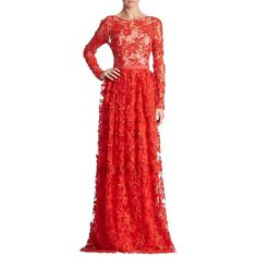 ML Monique Lhuillier Floral Lace Gown (€655) ❤ liked on Polyvore featuring dresses, gowns, cherry, red evening gowns, floral gown, long sleeve evening gowns, red gown and red lace dress