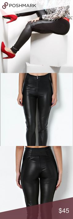 Faux Leather High Waisted Leggings Faux leather leggings with high waist and ribbed design at knee. 94% Polyester 6% Spandex TOV Pants Leggings