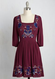 Blue Skies for Me Mini Dress - Red, Blue, Solid, Embroidery, Work, Casual, Daytime Party, Boho, A-line, 3/4 Sleeve, Fall, Better, Woven, Mid-length, Cotton