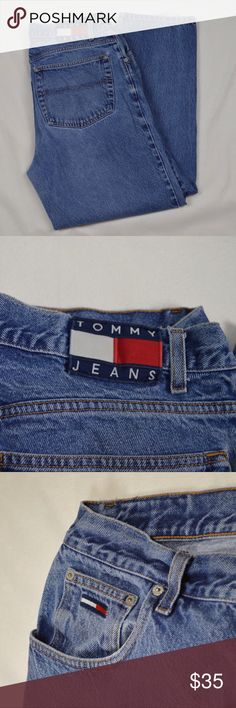 """Vintage Tommy Hilfiger Men's Jeans. Size 36/30 Good Condition Vintage pair of Tommy Hilfiger Men's Jeans. Size 36/30. 100% Cotton! There is some wear at the bottom hem of both legs where your heels would be. See last picture. Actual Sizes Waist: 36""""  Inseam: 28.5""""  Outseam: 40""""  Front Rise: 12.5""""  Back Rise: 16.5""""  Leg Opening: 8"""" Laying Flat. Tommy Hilfiger Jeans Relaxed"""