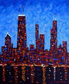 Chicago Skyline at Night from North Avenue Pier - vertical Art Print by J Loren Reedy. All prints are professionally printed, packaged, and shipped within 3 - 4 business days. Chicago Poster, Chicago Art, Chicago Photos, Chicago Travel, City Skyline Art, Chicago Skyline, My Kind Of Town, Thing 1, Paint And Sip