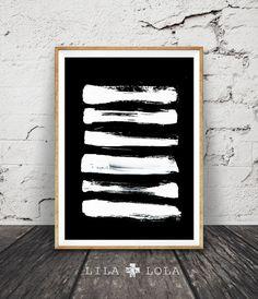 Brush Stroke Art Modern Minimalist Print Painting by LILAxLOLA