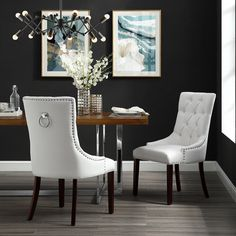 Faith White Leather PU Dining Chair - Set of 2 | Tufted | Ring Handle | Chrome Nailhead Finish - Walmart.com - Walmart.com Tufted Dining Chairs, White Dining Chairs, Fabric Dining Chairs, Dining Chair Set, Side Chairs, Accent Chairs, Dining Table, Dining Decor, Kitchen Chairs