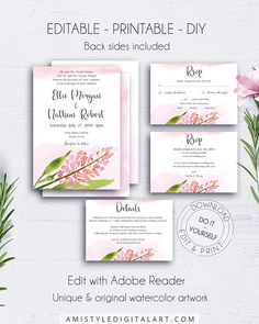 Super Ideas For Wedding Invitations Modern Chic Style Shabby Chic Wedding Invitations, Wedding Invitation Templates, Wedding Stationery, Invitation Suite, Invites, Wedding Sets, Wedding Cards, Diy Wedding, Perfect Wedding