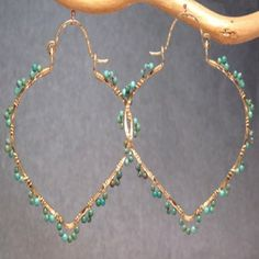 Siren 216 Hammered pointed hoops wrapped with by CalicoJunoJewelry