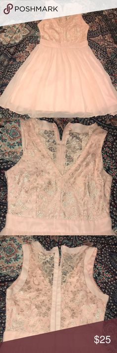 Formal dress Baby pink colored formal dress. Stops about 2in above the knees. Only work once Dresses Asymmetrical