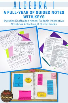 The guided notes bundle consists of a full-year of guided (scaffolded notes), interactive notebook activities, and quick checks for understanding for 11 units of study and two mini-units, perfect for Algebra 1 students. There are over 150 focused note activities that contain teacher answer keys. There are over 80 interactive notebook activities which include descriptions for use.Each product in this bundle also includes Quick Checks for Understanding with Answer Keys.