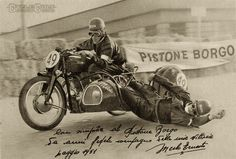 One of the great sidecar racing duo's of the 50's was Ernesto Merlo and passenger Dino Magi riders for the Gilera team.The duo won the 1952 Nations GP and Ernesto Merlo was Italian Sidecar Champion in 1952 and 54. Sadly, Dino Magri lost his life in a huge crash during the sidecar race of the Circuit of Luino, held on 14 August 1955. Ernesto Merlo recovered from the accident and lived until 8/4/2003 (He was 83