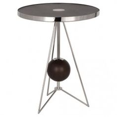 Polished Nickel Finish with Dark Walnut Finished Wood Accents Side Table