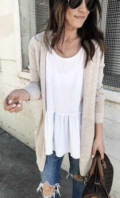 #spring #outfits Blush Cardigan & White Top & Destroyed Skinny Jeans