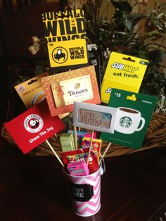 Gifts For Teens Birthday gift card bouquet for the adult or teen who has everything. Birthday Gift Cards, Birthday Gifts For Teens, Birthday Ideas, Themed Gift Baskets, Raffle Baskets, Diy Christmas Baskets, Christmas Gifts, Christmas Ideas, Gift Card Basket