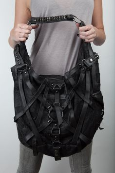 Rage Cage hobo bag by JungleTribe #bag #studded #leather 'black #goth