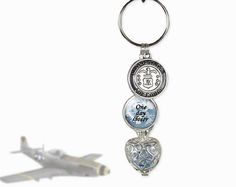 Air Force KeyChain Birthstone - One day closer - Birthstone Cage Locket - Personalized Military Key Chain