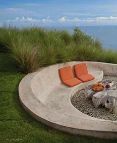 outdoor firepit and concrete bench, outdoor seating, built in seating, seat wall - Modern Concrete Bench, Concrete Furniture, Garden Furniture, Outdoor Furniture Sets, Furniture Ideas, Concrete Fire Pits, Concrete Design, Furniture Inspiration, Concrete Outdoor Table