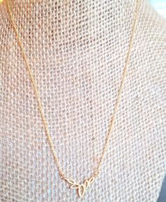 Gold Open Leaf Necklace Gold Petite Necklace by TheCoralDahlia, $18.00