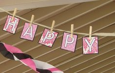 Paper party banner with clothespins. Baby Girl Birthday, First Birthday Parties, Birthday Party Themes, 2nd Birthday, First Birthdays, Birthday Ideas, Homemade Party Decorations, Girl Birthday Decorations, Paper Decorations