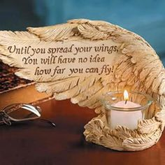 http://www.Facebook.com/SoulSistersNI Angel Wings Candle Quote