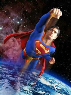 Superman flying to space