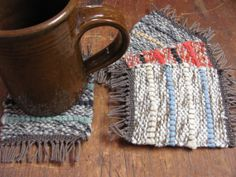 Coffee Tea Mug Cup Coasters Handwoven Recycled by aclhandweaver, $40.00
