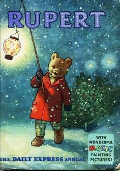 Rupert Bear / 1960 annual cover - always found this cartoon enchanting as a kid - Leslea Parrish - Deep Nostalgia 1970s Childhood, My Childhood Memories, Child Love, My Memory, Children's Book Illustration, My Children, Vintage Christmas, 1980s Christmas, Childrens Books