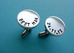Personalized Best Man Cufflinks - Custom Best Man Aluminum Cuff links. $18.00, via Etsy.