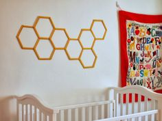 Pink Stripey Socks- DIY honeycomb hexagon popsicle stick wall art