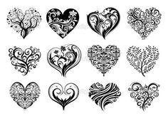 Set med 12 tatuering hjärtan, vektorbild