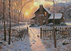 Welcome Winter - cross stitch pattern designed by Tereena Clarke. Winter Szenen, Winter Time, Thomas Kinkade, Christmas Scenes, Christmas Art, Cabin Christmas, Beautiful Christmas, Winter Pictures, Christmas Pictures