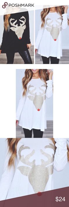 Holiday Ivory Glitter Reindeer Tunic Top S M L So cute for the holidays !! Ivory gold glitter reindeer tunic top, 95% Rayon 5% Spandex.  Available in size Small, Medium, or Large.  2 colors !! RESTOCK ARRIVING FRIDAY/SHIPPING SATURDAY!  No Trades, Price Firm unless Bundled.  BUNDLE 3 OR MORE ITEMS FOR 15 % OFF. Boutique Tops Tunics