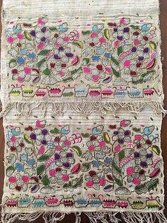 Antique Ottoman-turkish Silk & Metallic Hand Embroidery On Linen N3