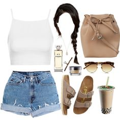 Simple Nude by demirese on Polyvore featuring Topshop, Levi's, Birkenstock, ZALORA, BY SOPHIE, Linda Farrow, Urban Decay and Chanel