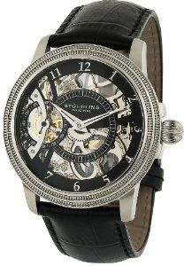 Stuhrling Original Men's 228.33151 Symphony Saturnalia Brumalia Mechanical Skeleton Stainless steel Watch Stuhrling Original. $255.00. Water-resistant to 165 feet (50 M). Stainless steel case with double-milled step-design bezel. Quality Mechanical movement with 40 hour power reserve. Black skeletonized dial with small seconds subdial. Black alligator embossed leather strap with dual deployment clasp