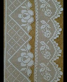 This Pin was discovered by Gül Crochet Bedspread Pattern, Crochet Lace Edging, Crochet Curtains, Filet Crochet, Hand Crochet, Crochet Stitches, Knit Crochet, Crochet Patterns, Russian Crochet