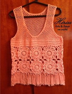 Stylish Scoop Neck Openwork Crochet Tank Top For Women Crochet Tunic, Cute Crochet, Crochet For Kids, Crochet Clothes, Easy Crochet, Crochet Lace, Diy Clothes, Crochet Bikini, Cool Sweaters