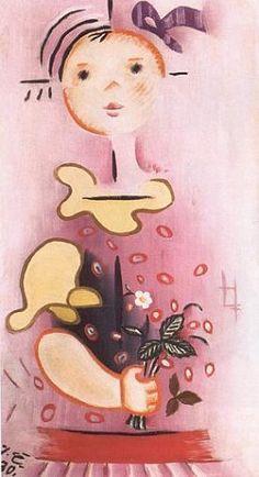Josef Čapek_Ruzova divenka s kytickou Modern Art, Cubist, Fine Art, Painter, Illustration, Children Illustration, Painting, Graphic Design, Art