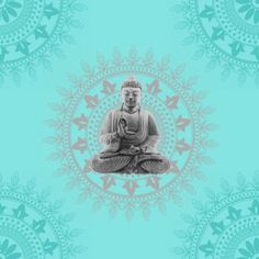 BonBon Buddha Wallpaper Teal / Silver - BonBon from I love wallpaper UK
