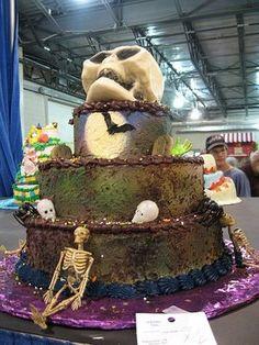 Halloween-cakes-skull-theme