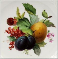 Lovely Reticulated Meissen Plate w Hand Painted Flowers Fruit