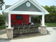Pool House outdoor kitchen complete with granite counters, BBQ, Refrig, cabinets, all stainless steel