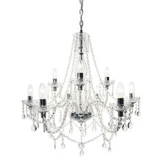 Contemporary Chandelier - Avignon 9 Light - Chrome from Litecraft Contemporary Chandelier, Outdoor Weddings, Chrome Finish, Chandelier Lighting, Mood Boards, Sparkle, Ceiling Lights, Chic, Glass