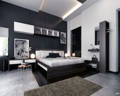 Modern Masculine Ikea Master Bedroom Design For Small Apartment With Stands Free Black White King Size Bed Below Protruding Tray Ceiling Lighting