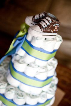 Diaper cake three tier boy or girl babyshower gift idea $75. I will make this at home for Carla and Greg's diaper shower!