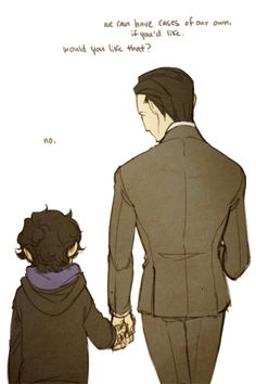 Mycroft and Sherlock. Gahhh so adorable.