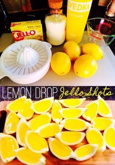Lemon Drop Jello Shot wedges - These are so easy and so addicting. Lemon Drop Jello Shot wedges - These are so easy and so addicting. Lemon Jello Shots, Jello Pudding Shots, Jello Shot Recipes, Alcohol Drink Recipes, Summer Jello Shots, Tequila Jello Shots, Alcohol Jello Shots, Watermelon Jello Shots, Easy Jello Shots